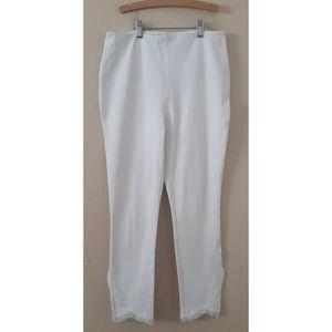 Lyssé White Fringe Bottom Pants